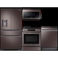 Samsung 23 cu. ft. counter depth 4-door refrigerator, 6.3 cu. ft. electric range, 2.1 cu. ft. microwave and Smart Linear dishwasher package