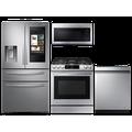 Samsung 28 cu. ft. Family HubTM 4-door refrigerator, gas range, microwave and 42 dBA dishwasher package(BNDL-1614633194949)