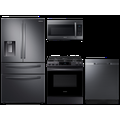 Samsung 23 cu. ft. counter depth 4-door refrigerator, gas range, 2.1 cu. ft. microwave and 48 dBA dishwasher package(BNDL-1614028719885)