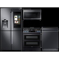Samsung Large Capacity 4-door Refrigerator + Gas Range with Convection + StormWash Dishwasher + Microwave in Stainless Steel, Silver