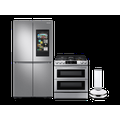 Samsung 23 cu. ft. Counter Depth BESPOKE 4-Door Flex Refrigerator in White Glass, gas range, convection microwave and Smart Linear dishwasher package