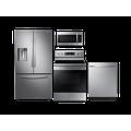 Samsung Large Capacity 3-door Refrigerator + Electric Range + StormWash Dishwasher + Microwave Kitchen Package in Black Stainless(BNDL-1572441962958)