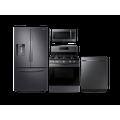 Samsung Large Capacity 3-door Refrigerator + Electric Range + StormWash Dishwasher + Microwave Kitchen Package in Stainless Steel, Silver