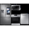 Samsung Large Capacity 3-door Refrigerator + Gas Range with Convection + 55 dBA Dishwasher + Microwave in Stainless Steel(BNDL-1604349024134), Silver