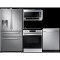 Samsung 23 cu. ft. counter depth 4-door refrigerator, 6.3 cu. ft. electric range, 2.1 cu. ft. microwave and 48 dBA modern-look dishwasher package