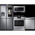 Samsung 23 cu. ft. counter depth 4-door refrigerator, 6.0 cu. ft. gas range, 2.1 cu. ft. microwave and 48 dBA dishwasher package(BNDL-1613162835144)