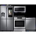 Samsung 22 cu. ft. Family HubTM counter depth 4-door refrigerator, 6.3 cu. ft. electric range, microwave and Smart Linear dishwasher package