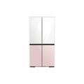 Samsung 23 cu. ft. Smart Counter Depth BESPOKE 4-Door Flex Refrigerator with Customizable Panel Colors in White Glass Top & Black Steel Bottom