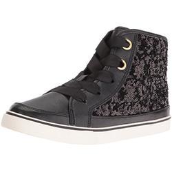The Children's Place Kids' Sneaker,BLACK-BG SEQUIN HITOP PSTAR,5 M US Little Kid