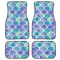Boatee Carpet Mermaid Scales Car Floor Mats for Front and Rear Floor Novelty Design Floor Mats Heavy - Duty Durable Floor Protector - Keep Clean