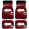 Cozeyat Sexy Red Tops Lips Prints Floor Mats for Cars, Automotive Heavy Duty Floor Mats,Set of 4 Car Floor Carpets,Anti-Slip Rubber Floor Carpets,Universal Fit Most Vehicle