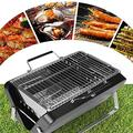 Grill Charcoal Portable Grill Folding BBQ Grill Stainless Steel Hibachi Grill for Tabletop Camping Grill Charcoal Small Grill for Outdoor Barbecues Picnic Cooking (Color : Green)-Green