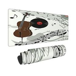 VINISATH Cello Violinpiano Gramophone Vinyl Record Old Computer Non-Slip Rubber Base Mousepad Square Mouse Pad for Office, Work, Home Gaming,11.8x31.5 in
