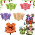 Strawberry Planters Outdoor Large Stackable Garden Pot Vertical Planters Outdoor Plants Stackable Flower Pots Planters Plant Tower Self Watering Tiers From Top Down Garden Tower Planter,Multicolor