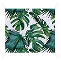 Waterproof Picnic Mat Palm Monstera Green White Tropical Summer Beach Blanket Picnic Outdoor Mat Waterproof Soft Fast Drying Nylon For Travel Camping Hiking CDH white-Palm Monstera Green White Tropic