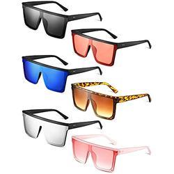 6 Pairs Square Oversized Sunglasses Flat Top Sunglasses Retro Shades Sunglasses Square Frame Sunglasses Siamese Sunglasses Eyewear Glasses for Women Men