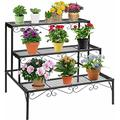 Heavy Duty 3 Tier Stair Style Metal Plant Stand Indoor Outdoor Bonsai Rack Yard-Plant Stand-Plant Stands for Indoor Plants-Plant Shelf-Outdoor Plant Stand-Plant Stands-Indoor Plant Stand