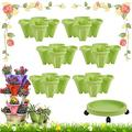 Stackable Garden Planter Stand Stacking Planters Three-Dimensional Strawberry Planting Pots,Stackable Flower Tower Planter Garden Growing System Indoor Outdoor Vertical Garden Planter (Green,6pc)