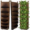 Brown Vertical Wall Planter for Indoor & Outdoor. Vertical Garden w/ 7 Pockets Waterproof. Herb Garden Strawberry Planter. Indoor Vegetable Garden. Wall Planter for Patio Balcony Fence. Plant Hanger
