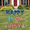 Big Dot of Happiness Firecracker 4th of July - Yard Sign Outdoor Lawn Decorations - Red, White and Royal Blue Party Yard Signs - Happy 4th of July