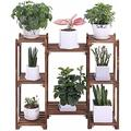 8 Tier Carbonized Wood Plant Stand Flower Pot Shelf Display Rack Indoor Outdoor-Plant Stand-Plant Stands for Indoor Plants-Plant Shelf-Outdoor Plant Stand-Plant Stands-Indoor Plant Stand
