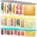 Jagrom 24 Pack Reusable Storage Bags 8 Gallon & 8 Sandwich Lunch Bags & 8 Small Kids Snack Bags For Food, EXTRA THICK Leak Proof Reusable Food Bags, Freezer Bags, Reusable Zipper Bags, BPA FREE
