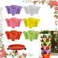 CHAOMIC Stand Stacking Planters Strawberry Planting Pots Strawberry and Herb 6-Layer Three-Dimensional Flower Pot Tower Garden Growing System Indoor Outdoor Vertical Garden Planter (6 Colour)