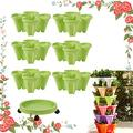 CHAOMIC Stand Stacking Planters Strawberry Planting Pots Strawberry and Herb 6-Layer Three-Dimensional Flower Pot Tower Garden Growing System Indoor Outdoor Vertical Garden Planter (6 Green)
