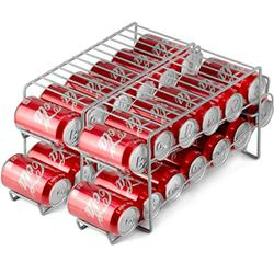 DecorRack 2 Stackable Front Loading Beverage Can Dispenser Rack, Stacking Can Organizer for Soda Cans Holder for Refrigerator, Kitchen Cabinet, Pantry, Fridge, Gray (2 Pack)