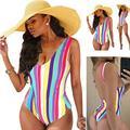 Wzdszuil swimsuits for women tummy control Swimsuits for Women,Sexy Ladies Women's Swimsuit Push Up Bikini Swimwear Beach Bathing Colorful Rainbow Striped (Size : X-Large)