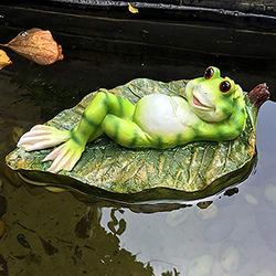 Green Frog Sitting Statue, Frogs Decor Statues for Yard and Garden, Indoor Outdoor Decoration Sculpture,Mini Outdoor Accessory Figurine for Fairy Garden,Home Decor Accent Garden Patio Accessory (#004)