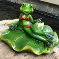 Green Frog Sitting Statue, Frogs Decor Statues for Yard and Garden, Indoor Outdoor Decoration Sculpture,Mini Outdoor Accessory Figurine for Fairy Garden,Home Decor Accent Garden Patio Accessory (#003)
