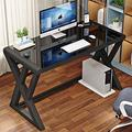 Houjud Tempered Glass Computer Desk, Ultramodern Home Office Desk Study Writing Desk with K-Shaped Leg, Tempered Glass Desktop and Metal Frame, Work Desk for Home Office (Black, Z Shape-39.4 inch)
