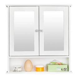 YUN JIN Bathroom Wall Mirror Cabinet,Indoor Bathroom Wall Mounted Cabinet Shelf, Mirrored Storage Medicine Cabinet,Multipurpose Cabinet for Bathroom,Vestibule,Bedroom (White Double Doors)