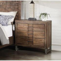 Loon Peak® Night Stands For Bedrooms, Oak Nightstand w/ 3 Drawer, Rustic Large End Tables For Living Room Hallway Office DormsWood | Wayfair in Brown