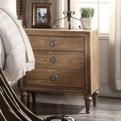 Loon Peak® Night Stands For Bedrooms, Reclaimed Oak Nightstand w/ 3 Drawers, Traditional Bedside Table in Brown, Size 28.0 H x 24.0 W x 19.0 D in