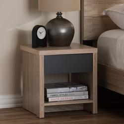 Union Rustic Eccleston Modern & Contemporary Two-Tone Oak & Grey Wood 1-Drawer 1-Shelf Nightstand Wood in Brown/Gray   Wayfair