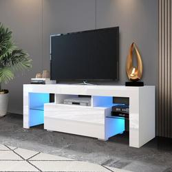 """Ivy Bronx Entertainment TV Stand Up To 55"""", Large TV Stand TV Base Stand w/ LED Light TV Cabinet in White   Wayfair"""