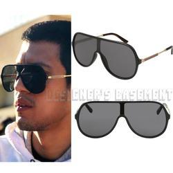 Gucci Accessories | Gucci Black Gg0199s Vintage Web Shield Sunglasses | Color: Black/Gold | Size: Os