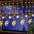 138 LED String Lights, Moon Star Curtain String Lights Fairy String Light Moon and Star Hanging Decorations for Eid Birthday Party Home Garden Bedroom Wall Window