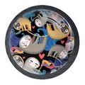 Cute Abstract Art Cartoon Sloth Baby for Kitchen Furniture, Kids Room DIY Cabinet Knobs Glass 4 PCS