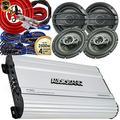 Audiobank 4 Channels 1000 WATTS Bridgedable Car Audio Stereo Amplifier P1004 + 4X 800 Watts Peak Power Speakers 6.5-Inch + Complete 4 Channels Amplifier Installation Kit