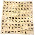 Carreaux en bois avec lettres et chiffres noirs ABC, pour artisanat, jeu de cerveau, carreaux de