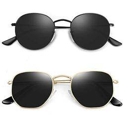 MEETSUN 2-Pack Polarized Sunglasses for Women Trendy Sun Glasses UV400 Protection Shades (A6 (2 Pack) Black Frame Grey Lens + Glod Frame Grey Lens, Small)