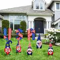 8 Pieces 4th of July Yard Sign with Stake Independence Day Gnome Yard Sign Patriotic Letters Yard Signs Outdoor Lawn Decorations for Memorial Day Courtyard Lawn Garden Ornament
