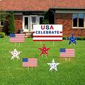 Gukasxi 4th of July Yard Sign Decoration, Set of 8 Independence Day Yard Signs with Stakes Red White Blue Strip and Stars Patriotic Yard Sign for Outdoor Lawn Garden Party Decoration