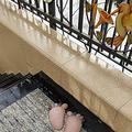 ZHXQ Garden Sculpture 11.42 Inch Human Footprint Stepping Stone Set Resin Cartoon Front Door Mat, Perfect for Garden, Yard (Color : Brown)