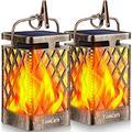 TomCare Solar Lights Outdoor Flickering Flame Solar Lantern Outdoor Hanging Lanterns Decorative Outdoor Lighting Solar Powered Waterproof LED Flame Umbrella Lights for Patio Garden Deck Yard, Bronze