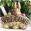 Rabbits Outdoor Garden Statue Flower Pot Hand-painted Decorative Resin ornaments Bunny Welcome Sign Housewarming gift Garden Funny Gifts Resin Garden Figurine Outdoor Garden Statue Garden Statue Resin
