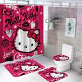 Hello Kitty 4PCS Shower Curtain Sets with Non-Slip Rugs Toilet Lid Cover Bath Mat and 12 Hooks Waterproof Fabric Cute Bathroom Decor